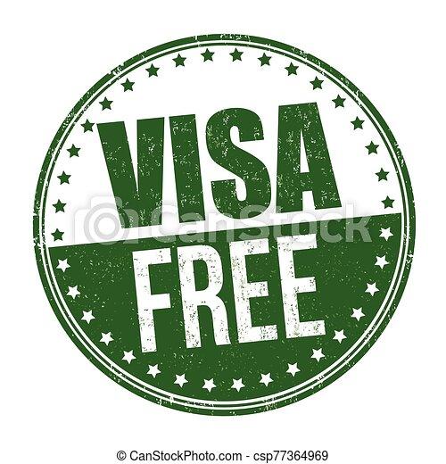 Visa free sign or stamp - csp77364969