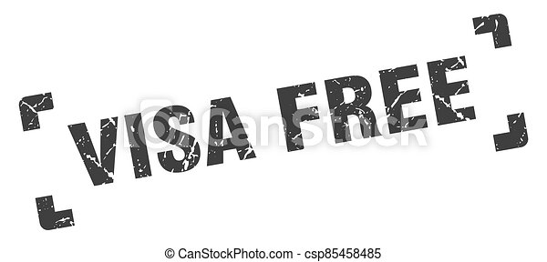 visa free stamp. square grunge sign isolated on white background - csp85458485