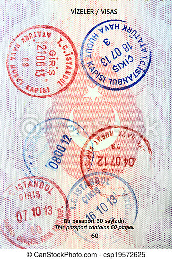 Visa stamps in Turkish passport - csp19572625