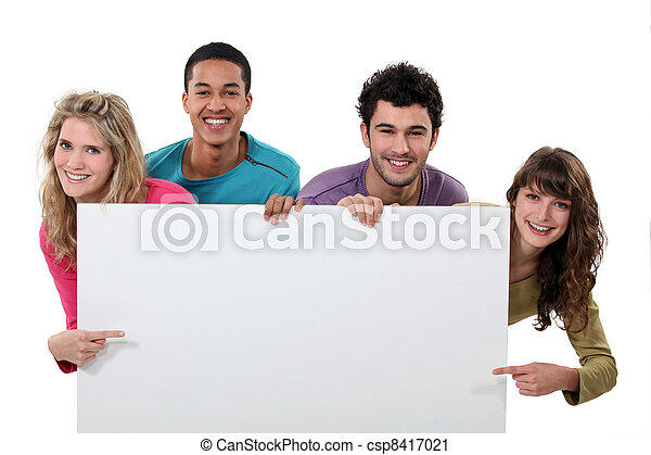 visande, foursome, copyspace, lycklig - csp8417021
