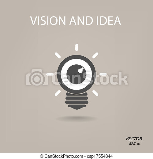 vision and ideas sign, eye icon and business sign, light bulb symbol - csp17554344