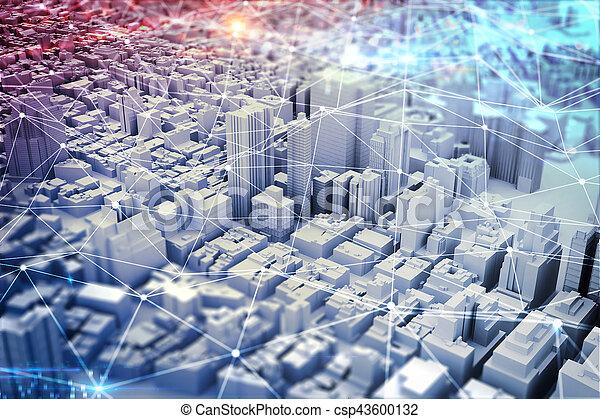 Visión futurista de la ciudad. Medias mezcladas - csp43600132