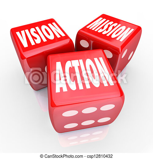 Vision Mission Action Three Red DIce Goal Strategy - csp12810432