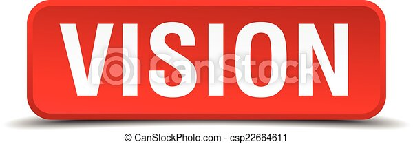 Vision red 3d square button isolated on white - csp22664611