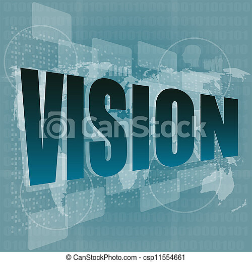 vision word on digital screen with world map - business concept - csp11554661