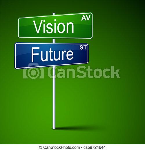visione, direzione, futuro, segno., strada - csp9724644