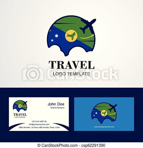 El logotipo de la bandera de Navidad de viaje y el diseño de tarjetas de visita - csp62291390