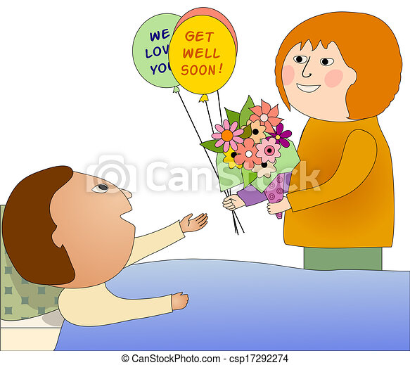 visiting a sick person woman visiting a sick man who is stock rh canstockphoto com picture of sick person clip art sick person in bed clipart