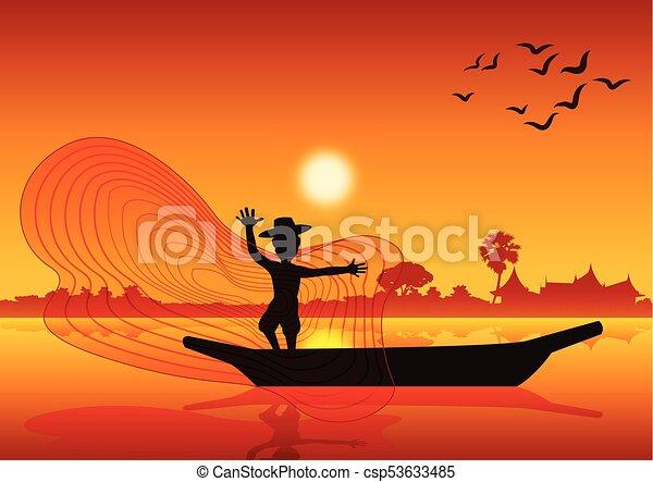 visje, land leven, werpen, ondergaande zon , meer, tijd, vangen, vijver, net, stijl, scheepje - csp53633485