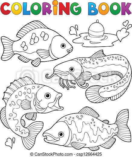 vissen, 1, freshwater, kleurend boek - csp12664425