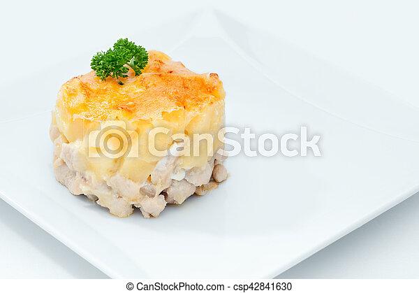 Cerca de la vista de una deliciosa comida en la espalda blanca - csp42841630