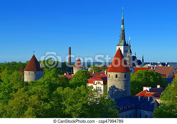 vista, antigas, tallinn, estónia, town. - csp47994789