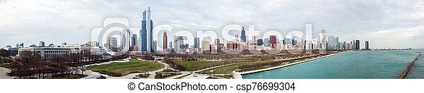 vista, chicago, contorno, zángano - csp76699304