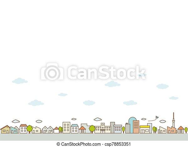 vista, ciudad, caminos, línea plana, calle, árboles., edificios, concepto, paisaje - csp78853351