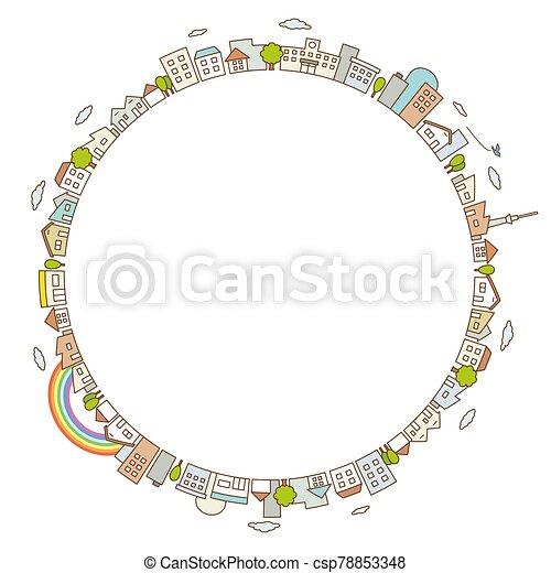 vista, ciudad, caminos, línea plana, calle, árboles., edificios, concepto, paisaje - csp78853348