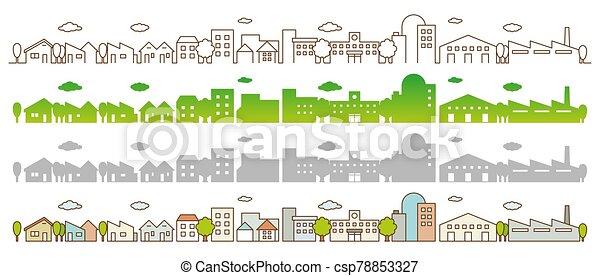 vista, ciudad, caminos, línea plana, calle, árboles., edificios, concepto, paisaje - csp78853327