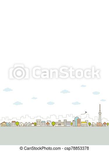 vista, ciudad, caminos, línea plana, calle, árboles., edificios, concepto, paisaje - csp78853378