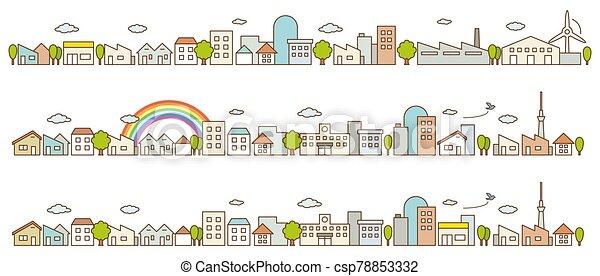 vista, ciudad, caminos, línea plana, calle, árboles., edificios, concepto, paisaje - csp78853332