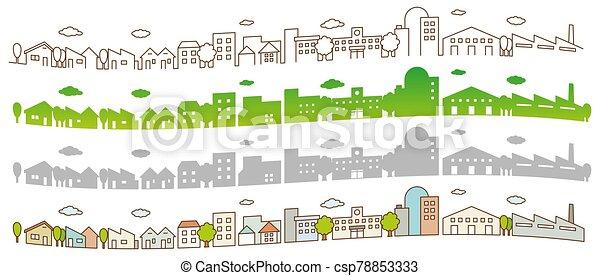 vista, ciudad, caminos, línea plana, calle, árboles., edificios, concepto, paisaje - csp78853333