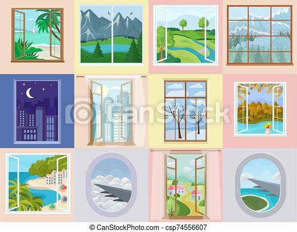 vista, fondo, plano de fondo, vacaciones, ilustración, ventana, playa, conjunto, casa interior, decoración, vector, casa, apartamento, de madera, mar, montaña, marco, diseño, avión, hermoso, iluminador - csp74556607