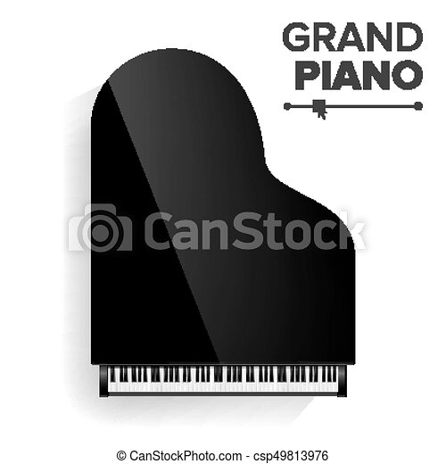 vista., illustration., topo, isolado, realístico, pretas, vector., grandioso, instrument., piano, musical - csp49813976