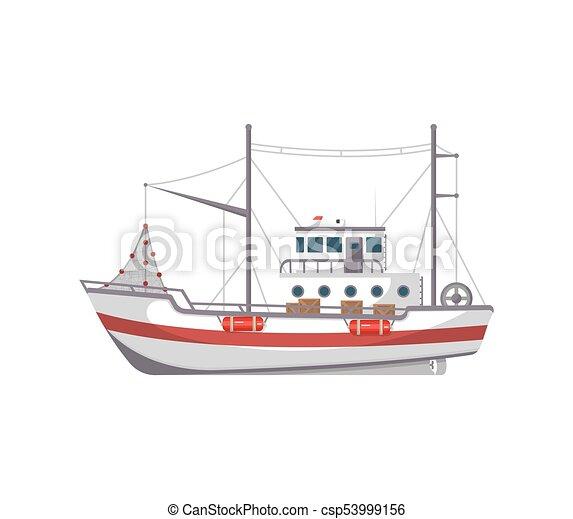 Vista Lado Barco De Pesca Icono Icon Plano Transporte