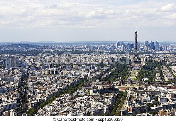 vista, montparnasse, aéreo, paris, frança - csp16306330
