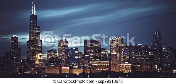vista, noche, contorno, famoso, chicago, panorámico - csp79318675