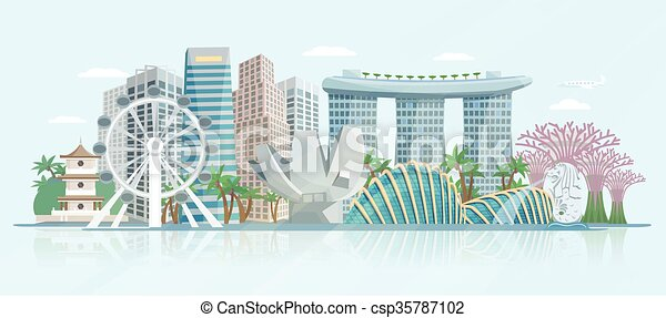 El afiche de vista panorámica de Singapur - csp35787102