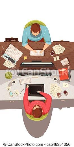 vista, reunião, negócio, topo, desenho, conceito - csp46354056