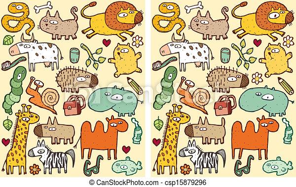 visuel, différences, animaux, jeu - csp15879296