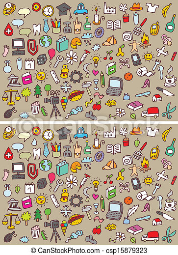 visuel, différences, jeu, icônes - csp15879323