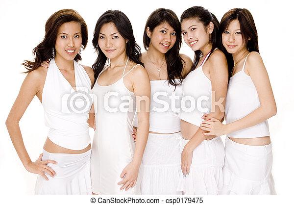 vit, asiat, #1, kvinnor - csp0179475