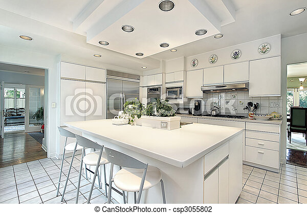 vit, cabinetry, kök - csp3055802