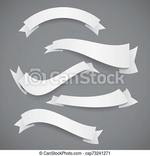 vit, flaggan, papper, vågig, remsor, eller, sätta - csp73241271