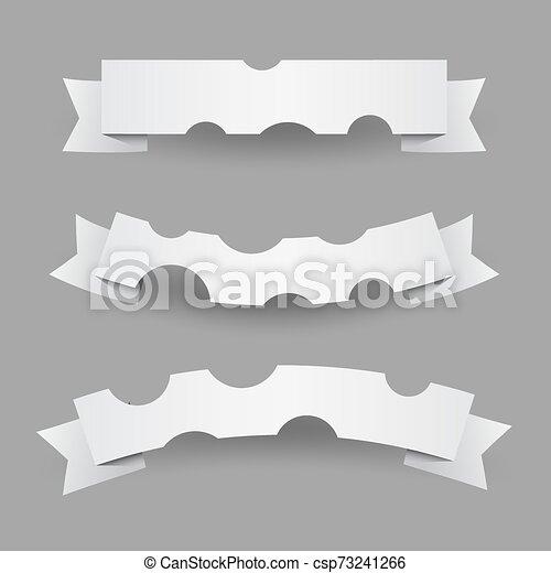 vit, flaggan, papper, vågig, remsor, eller, sätta - csp73241266