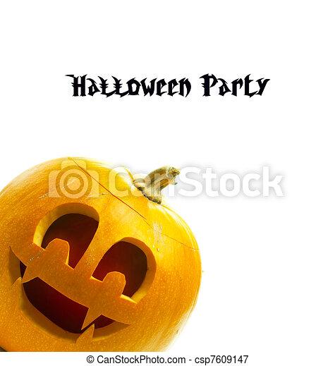 vit, halloween, isolerat, bakgrund, pumpa - csp7609147