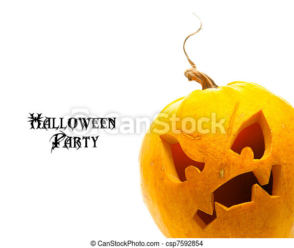 vit, halloween, isolerat, bakgrund, pumpa - csp7592854