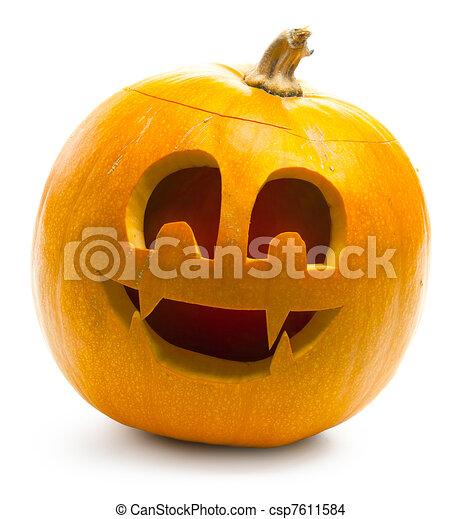 vit, halloween, isolerat, bakgrund, pumpa - csp7611584