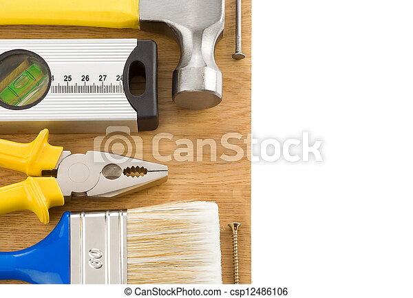 vit, konstruktion, redskapen, isolerat - csp12486106