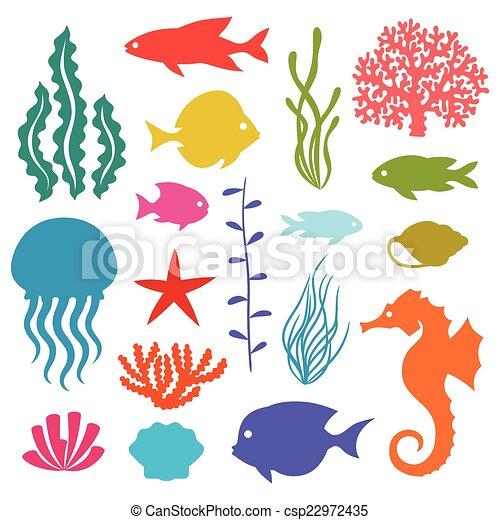 vita, set, icone, animals., oggetti, mare, marino - csp22972435