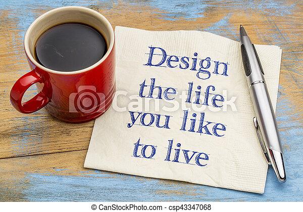 vita, vivere, disegno, come, lei - csp43347068
