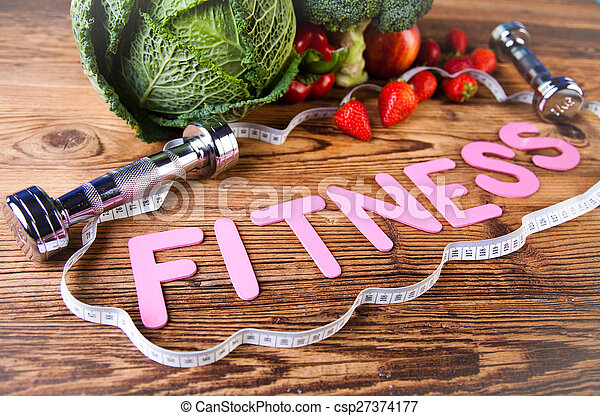 Vitamin and Fitness diet, dumbbell - csp27374177