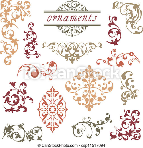 vitoriano, scroll, ornamentos - csp11517094