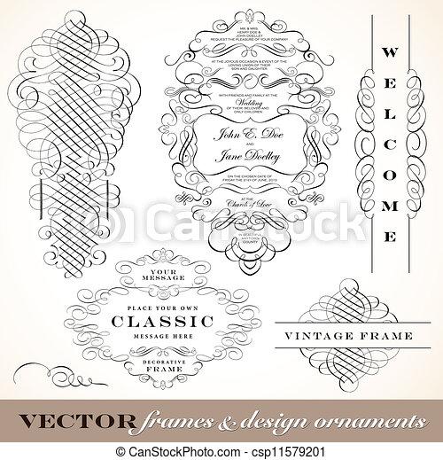 vitoriano, vetorial, ornamento, set., fantasia - csp11579201