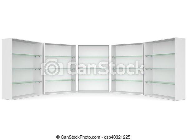 Vitrina estantes aislado vidrio plano de fondo blanco vaco