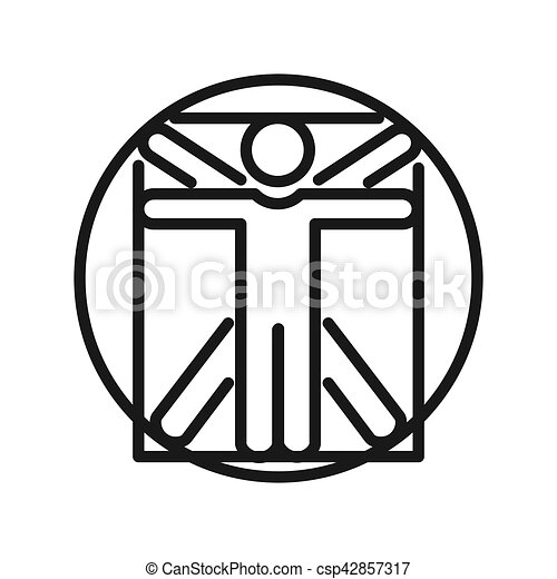 vitruvian, conception, illustration, homme - csp42857317