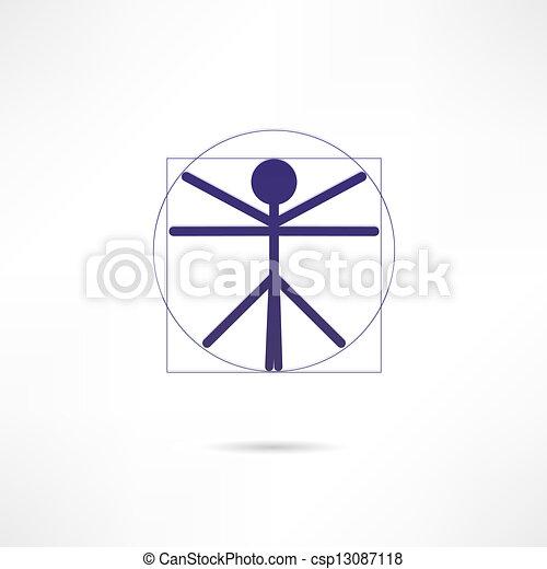 vitruvian homme, icône - csp13087118