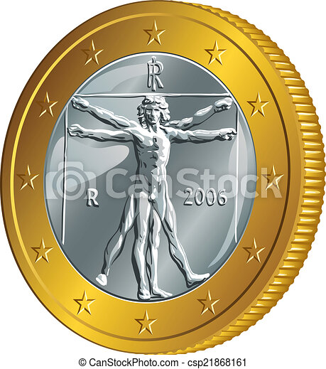 Vector italiano moneda de oro un euro (Hombre de Vitruvia) - csp21868161