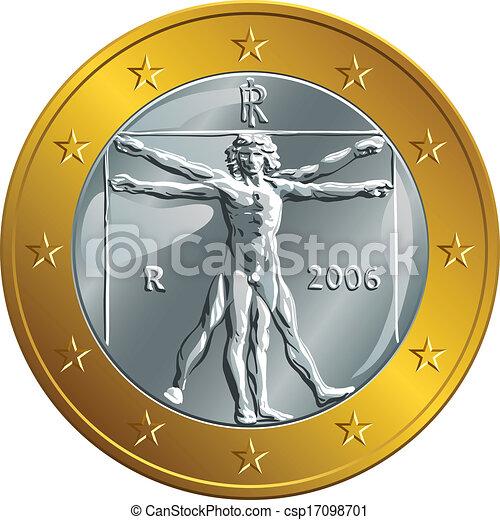 Vector italiano moneda de oro un euro (Hombre de Vitruvia) - csp17098701